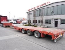 NOVA low bed semi-trailer 3 axles , stretched , expanded , 14.8 x 3m , steer axle